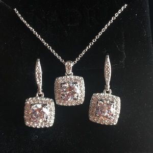 Nadri jewelry set 3pc earrings and necklace